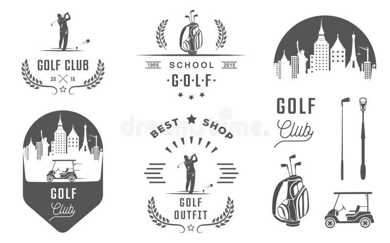 Uppsättning av golflogo, etiketter och emblem vektor illustrationer