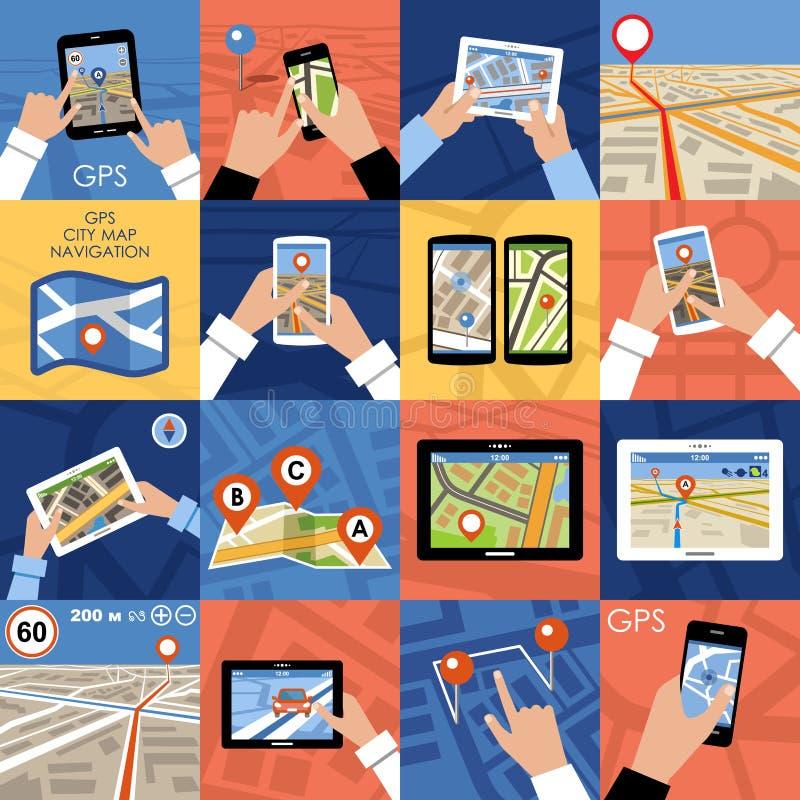 Uppsättning av GPS för 16 symboler navigering royaltyfri illustrationer