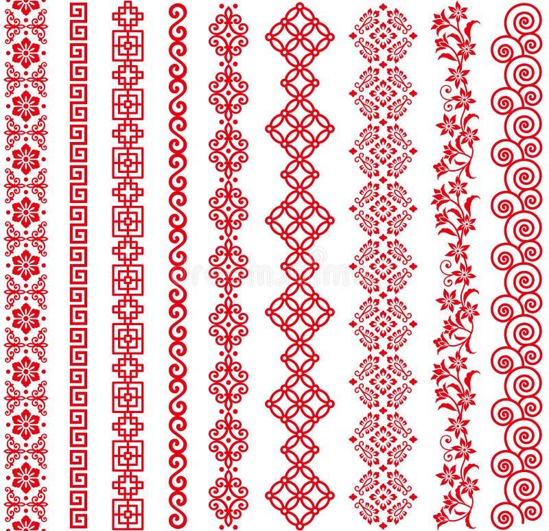 Uppsättning av gränser för kinesisk stil royaltyfri illustrationer