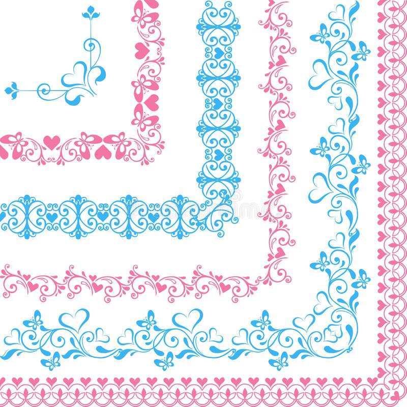 Uppsättning av gränser med hjärtor och fjärilar blått och rosa färger vektor illustrationer