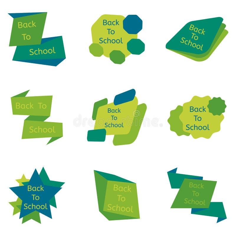 Uppsättning av gräsplan nio tillbaka till skolaemblem stock illustrationer