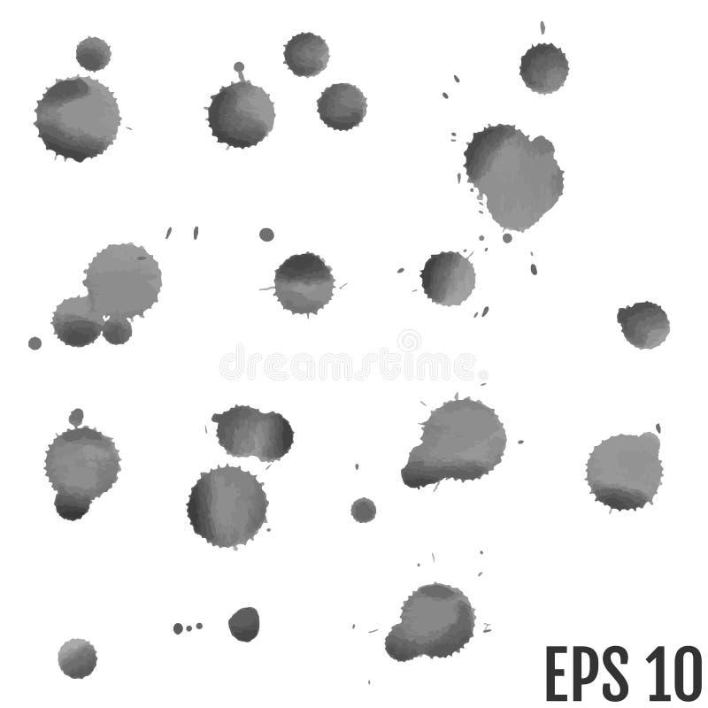 Uppsättning av grå färgfärgstänk på vit bakgrund Grungefärgpulverfläckar och dro vektor illustrationer