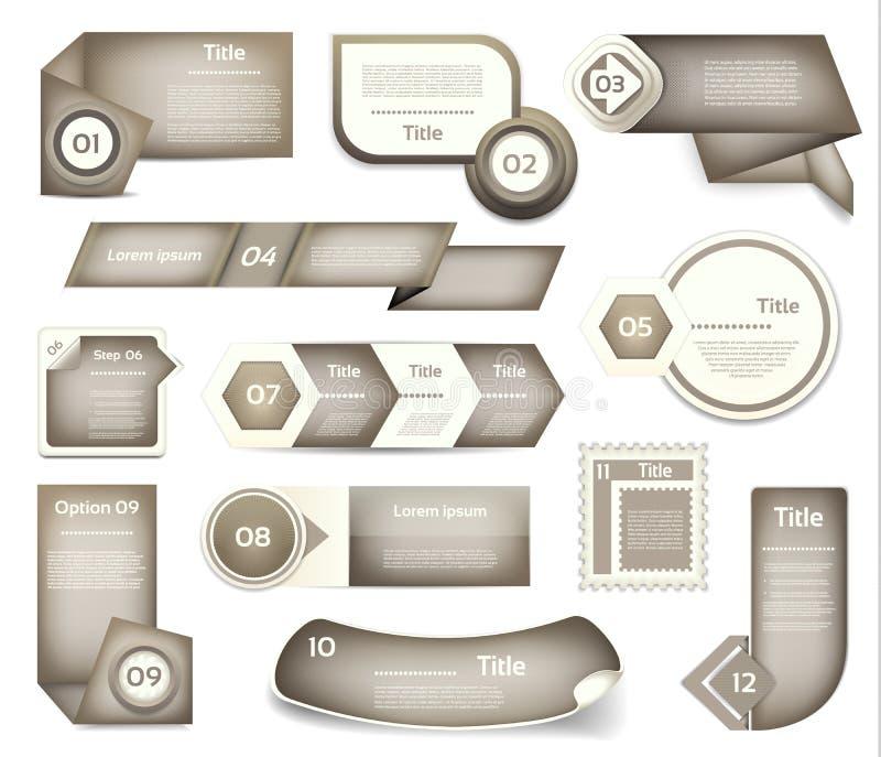 Uppsättning av grått vektorframsteg, version, momentsymboler stock illustrationer