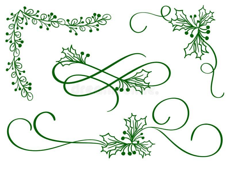Uppsättning av grön konst för julkalligrafikrusidull med dekorativa whorls för tappning för design på vit bakgrund vektor vektor illustrationer