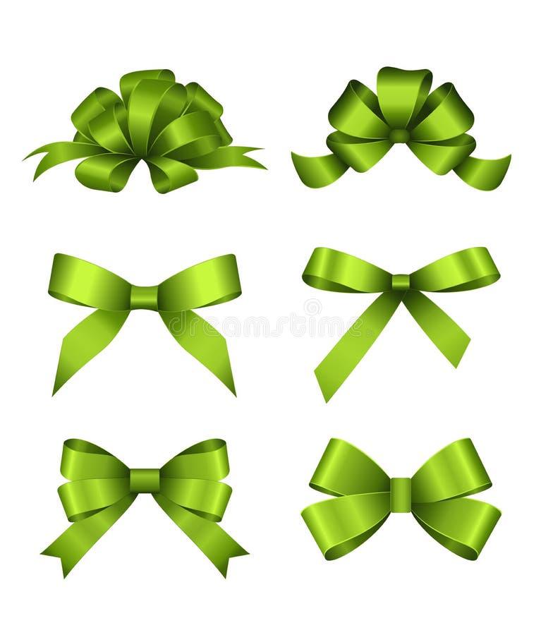 Uppsättning av gröna gåvapilbågar Begrepp för inbjudan-, baner-, för gåvakort, lyckönskan- eller websiteorienteringsvektor vektor illustrationer