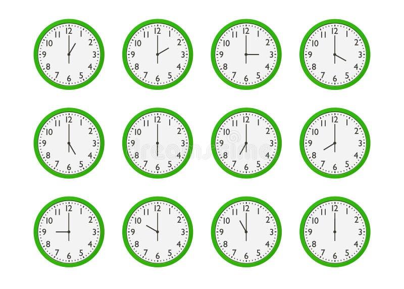 Uppsättning av gröna väggklockor med olik tid som isoleras på vit bakgrund royaltyfri illustrationer