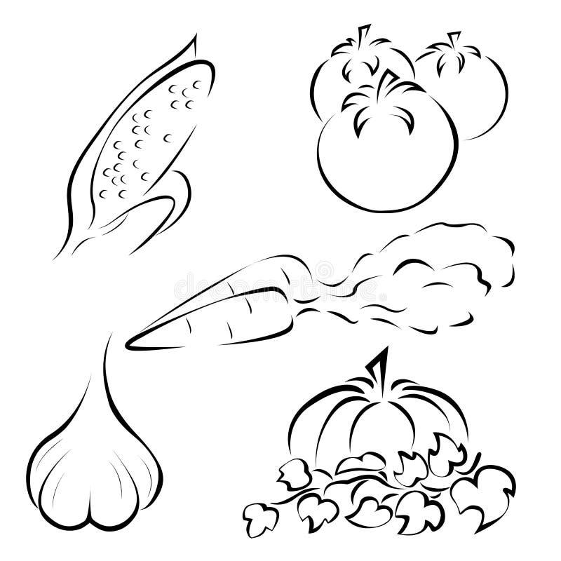 Uppsättning av grönsaklogoer royaltyfri illustrationer