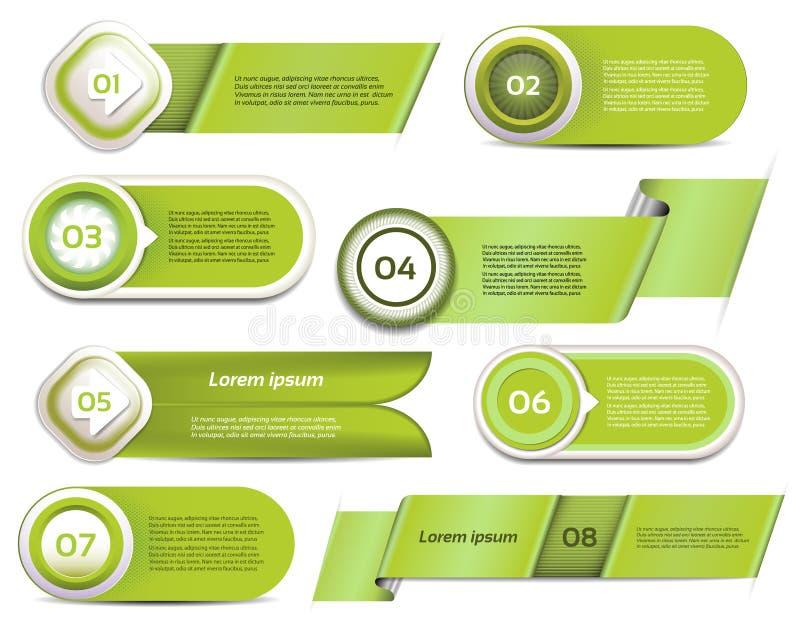 Uppsättning av grönt vektorframsteg, version, momentsymboler vektor illustrationer