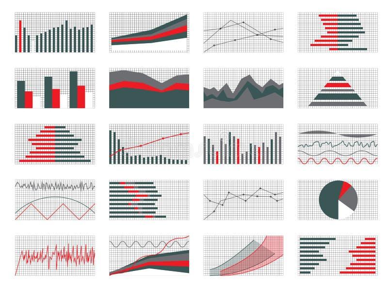 Uppsättning av grafer och diagram Data och statistik, informativa Infogr royaltyfri illustrationer