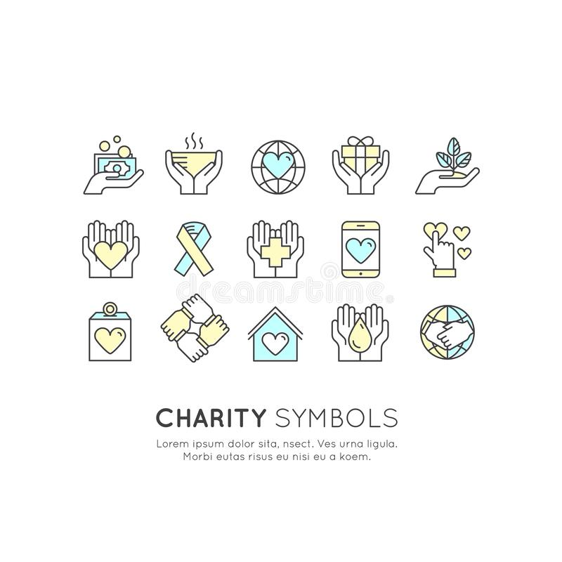 Uppsättning av grafiska beståndsdelar för ideella organisationer och donationmitt Fundraising symboler, Crowdfunding projektetike vektor illustrationer
