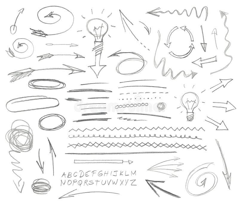 Uppsättning av grafiskt tecken Blyertspenna vektor illustrationer
