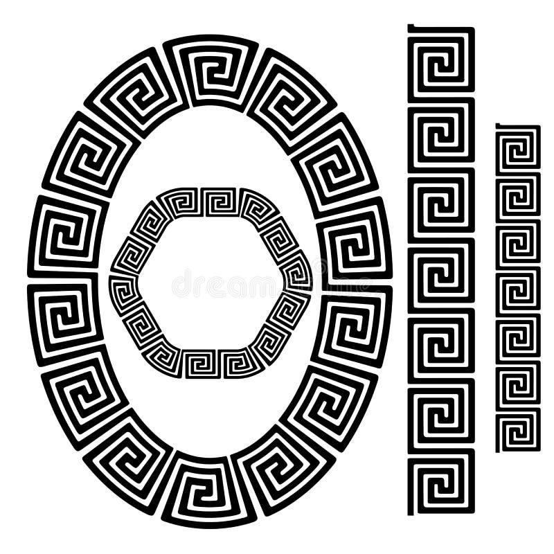 Uppsättning av grekiska dekorativa ramar vektor illustrationer