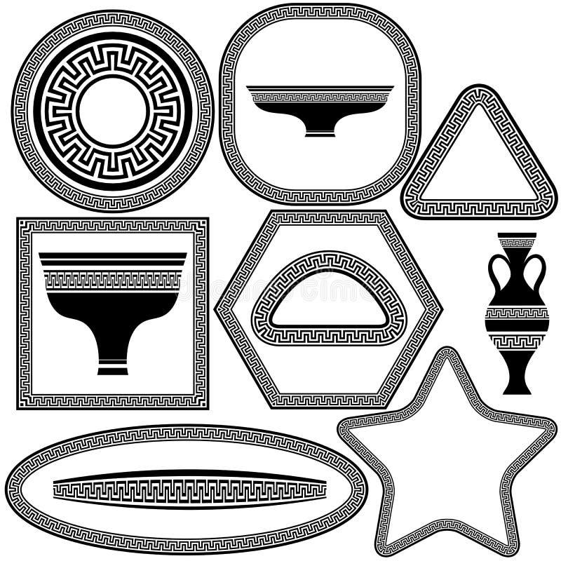 Uppsättning av grekramar och disk stock illustrationer