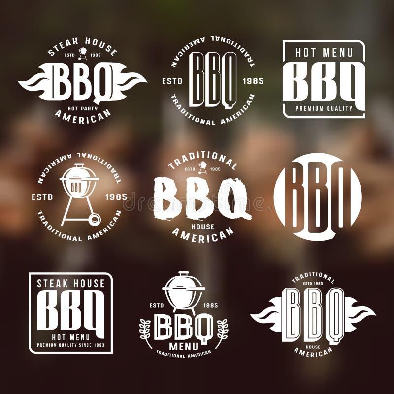 Uppsättning av grillfestetiketter och emblem stock illustrationer
