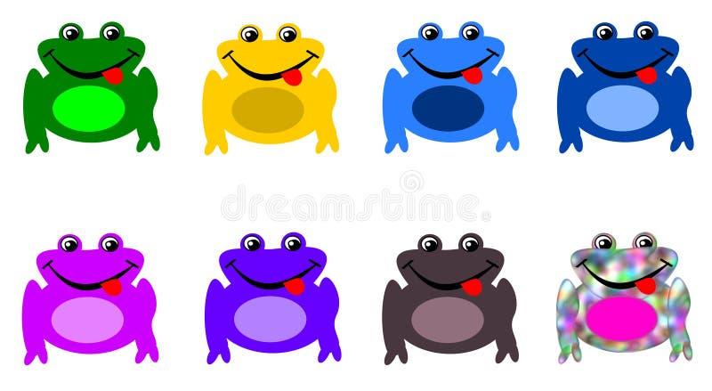 Uppsättning av grodor i olika färger - kameleontgroda vektor illustrationer