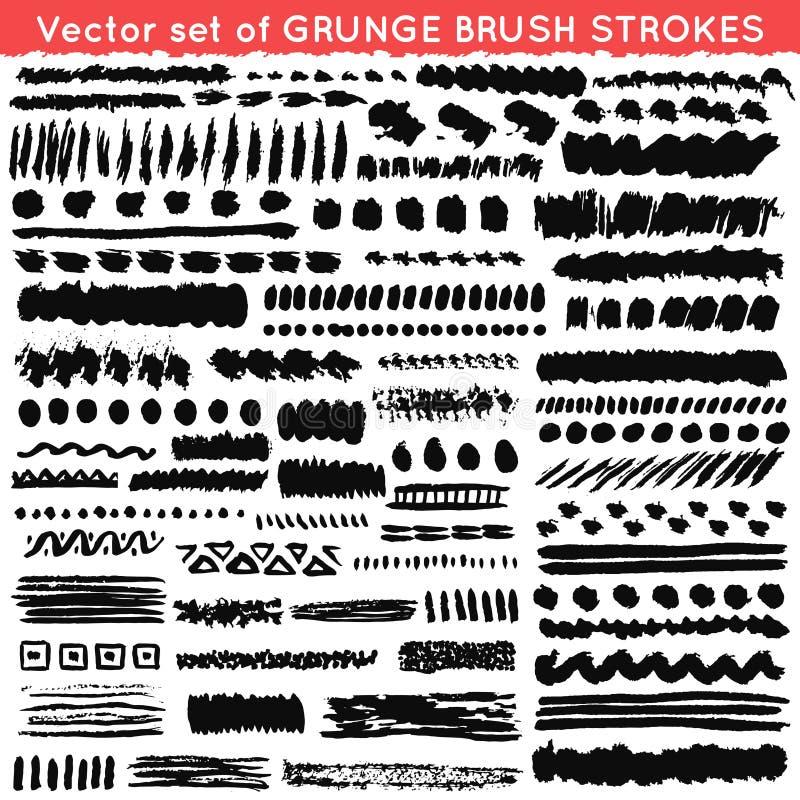 Uppsättning av grunge och den dekorativa olika borsten stock illustrationer