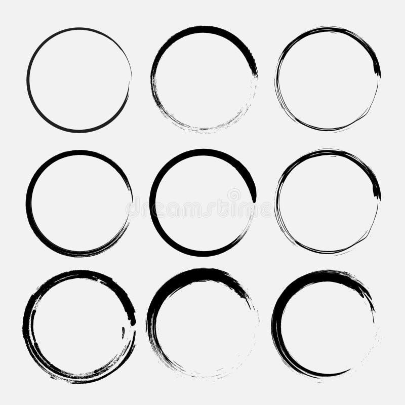 Uppsättning av grungecirklar Runda former för vektorgrunge stock illustrationer