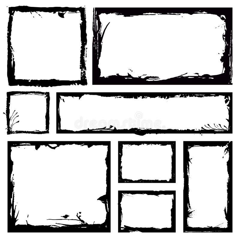 Uppsättning av grungefyrkantramar Töm gränsbakgrund Handen drar svartvitt färgpulver För kanttappning för nödläge skadad mall Bru vektor illustrationer
