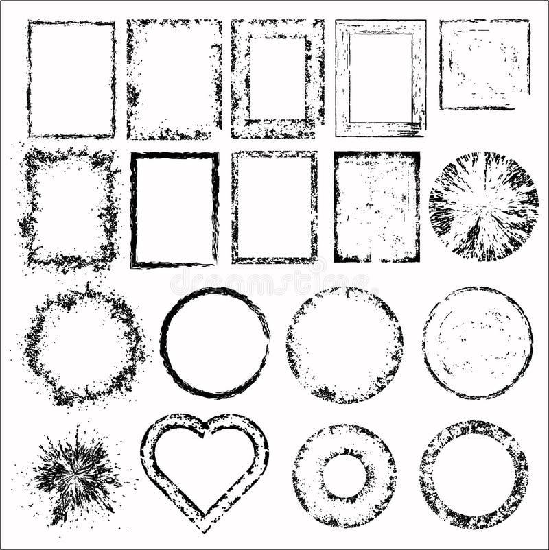 Uppsättning av grungeramar. Vektorillustration stock illustrationer