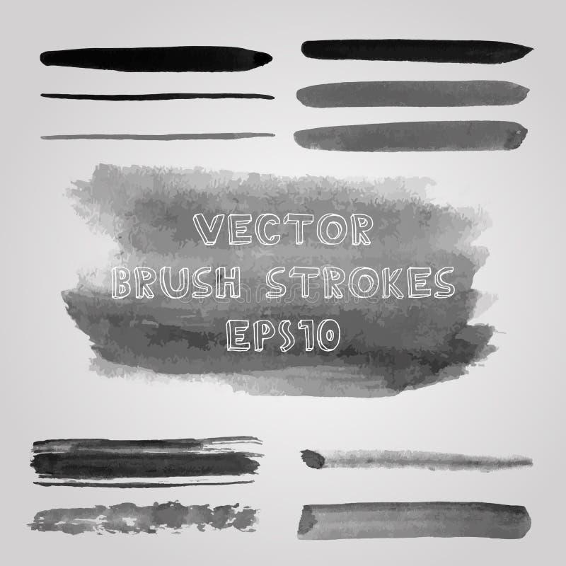 Uppsättning av grungeskuggor av gråa vattenfärgborsteslaglängder royaltyfri illustrationer