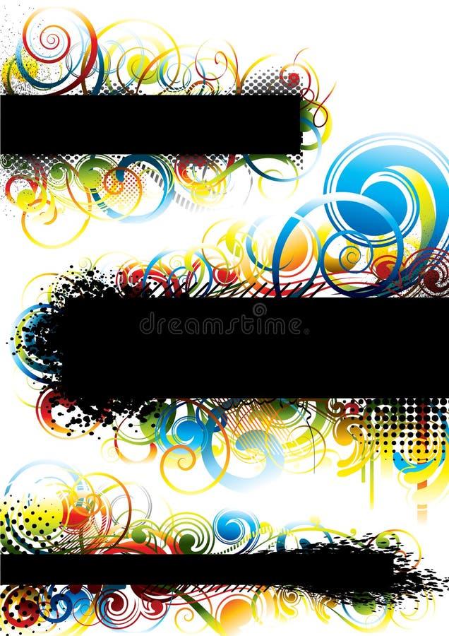 Uppsättning av grungesvartbakgrund vektor illustrationer