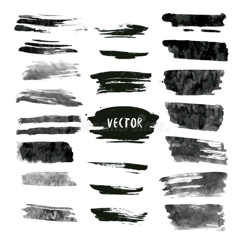 Uppsättning av grungevektor- och färgpulverslaglängder Abstrakt designbeståndsdelsamling Hand drog sudd stock illustrationer