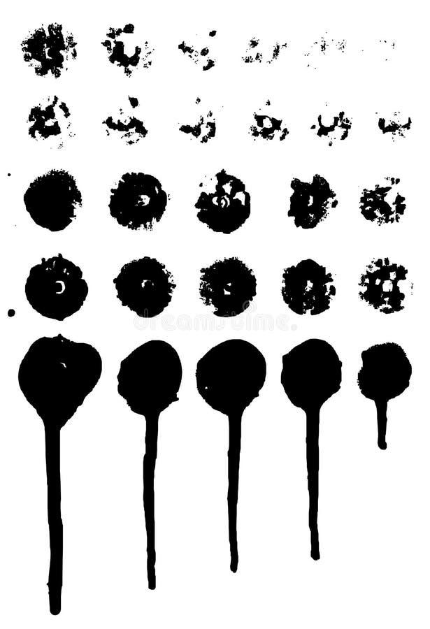 Uppsättning av grungy målarfärgdroppander vektor royaltyfri illustrationer