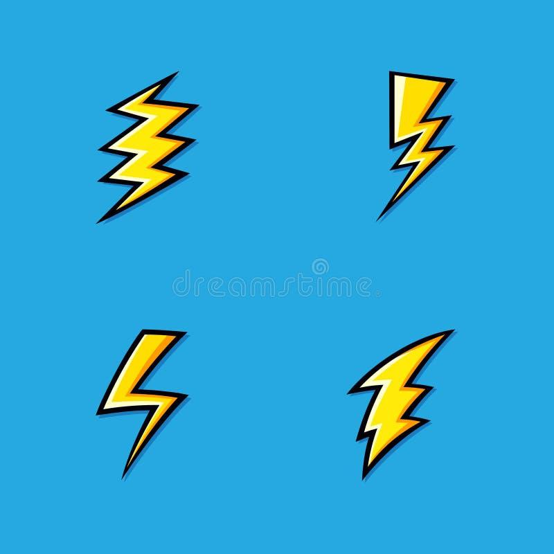 Uppsättning av gula elektriska symboler för blixtbult med skuggning av effekter på blå bakgrund vektor illustrationer