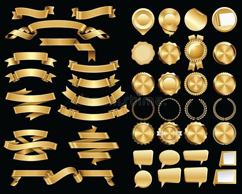 Uppsättning av guld- band och certifikatskyddsremsor och emblem royaltyfri illustrationer