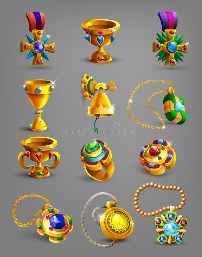 Uppsättning av guld- belöning, skatten, prestationen och tecknet stock illustrationer