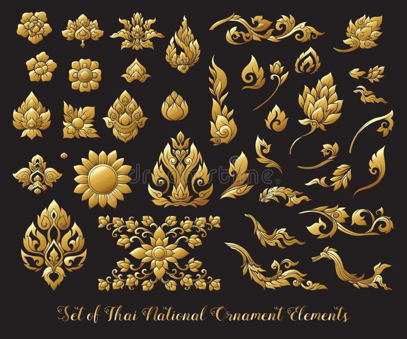 Uppsättning av guld- beståndsdelar av den traditionella thailändska prydnaden materielillustr vektor illustrationer
