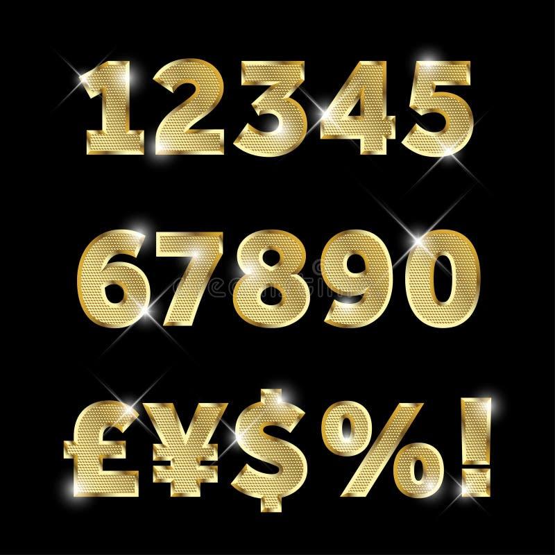 Uppsättning av guld- blänka metallalfabet, nummer och valutor royaltyfri illustrationer