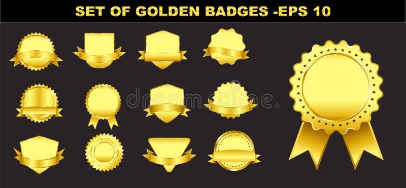 Uppsättning av guld- emblem eller det guld- bandet vektor illustrationer