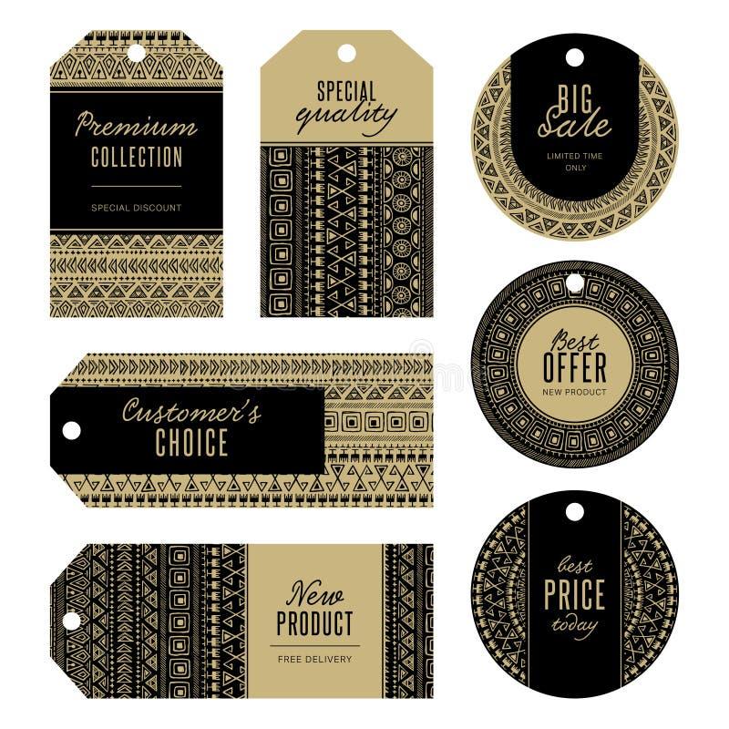 Uppsättning av guld- etiketter royaltyfri illustrationer