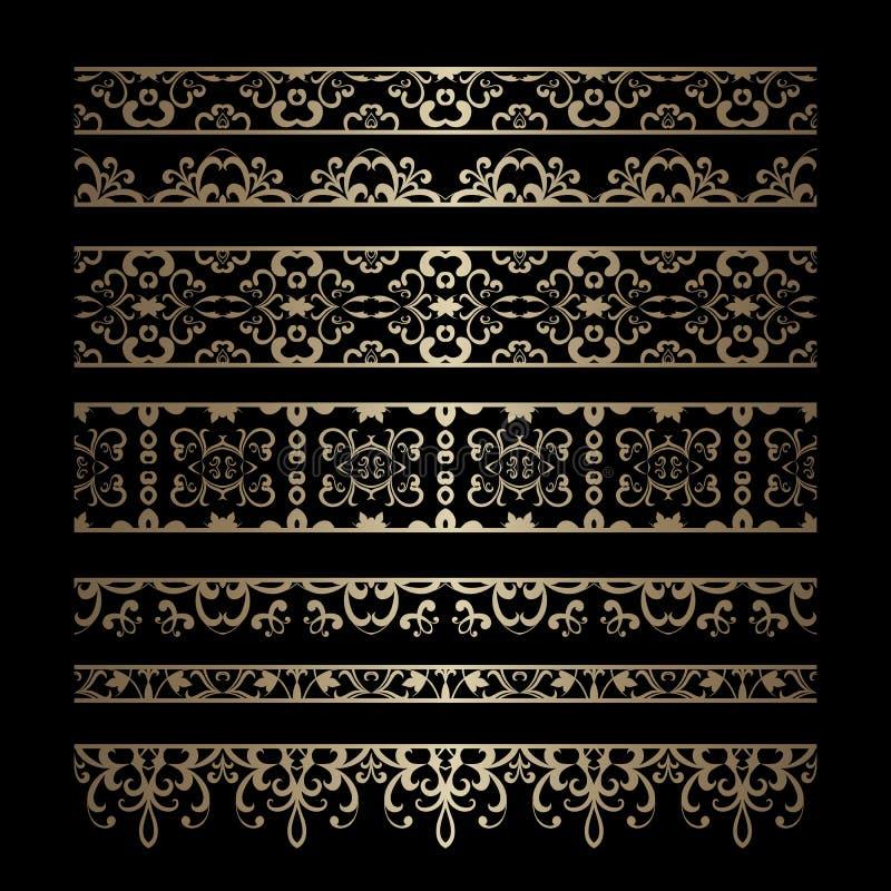 Uppsättning av guld- gränsprydnader vektor illustrationer