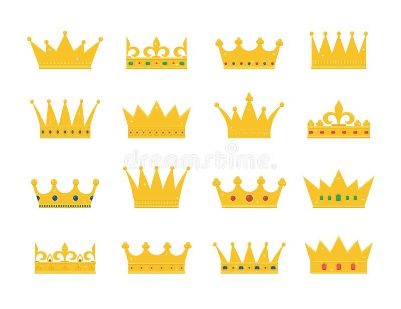 Uppsättning av guld- kronasymboler royaltyfria bilder
