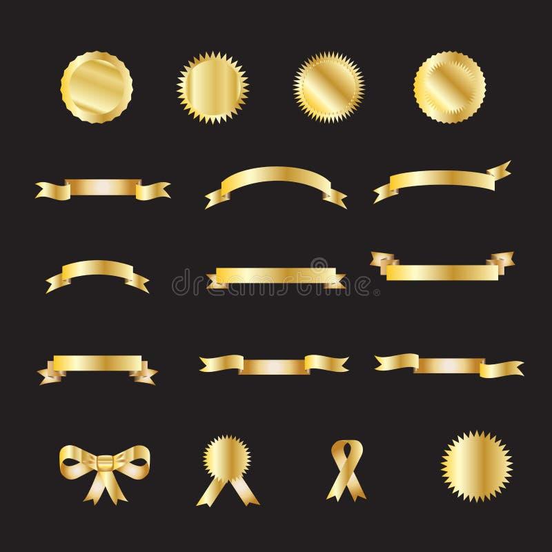 Uppsättning av guld- lyxiga band vektor illustrationer