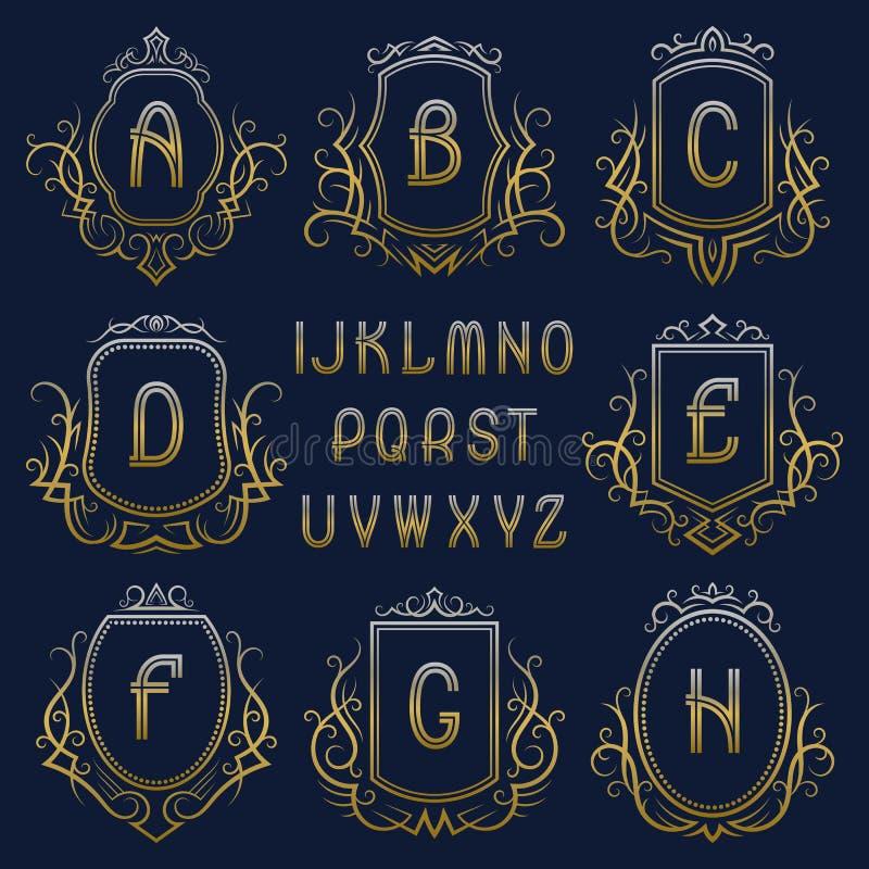 Uppsättning av guld- monogram med kransar och sköldar behagfull alfabet- och logodesignbeståndsdelsats stock illustrationer