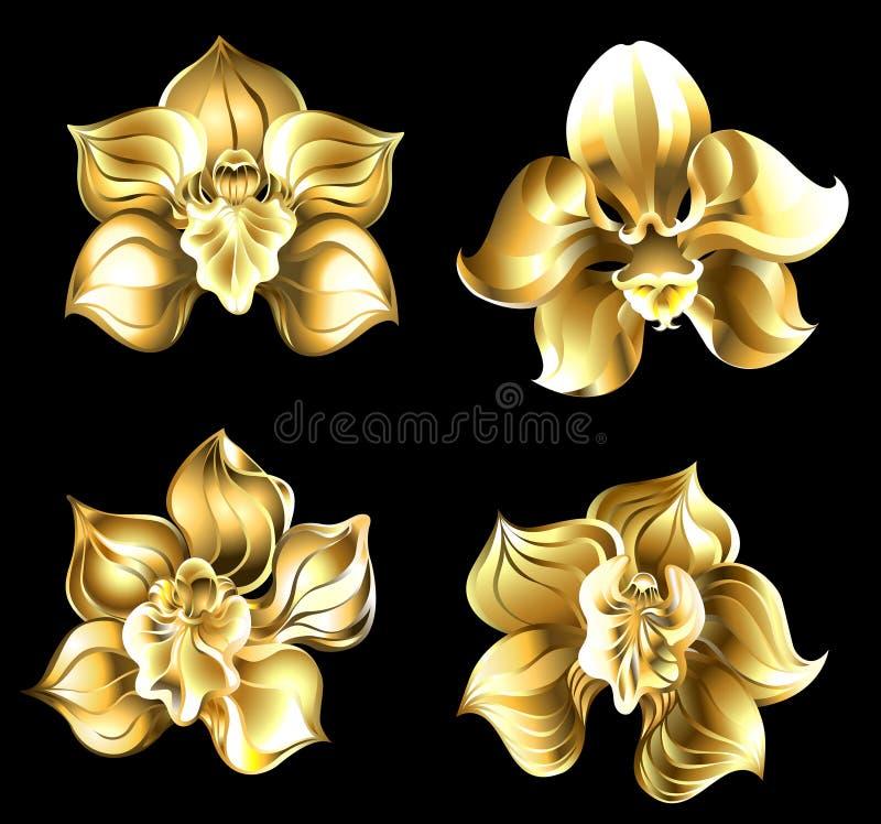 Uppsättning av guld- orkidér stock illustrationer
