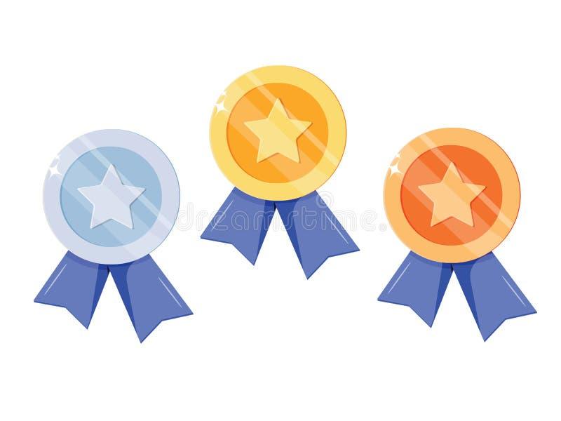 Uppsättning av guld, silver, bronsmedalj med stjärnan för det första stället Trofé utmärkelse för vinnaren som isoleras på vit ba royaltyfri illustrationer