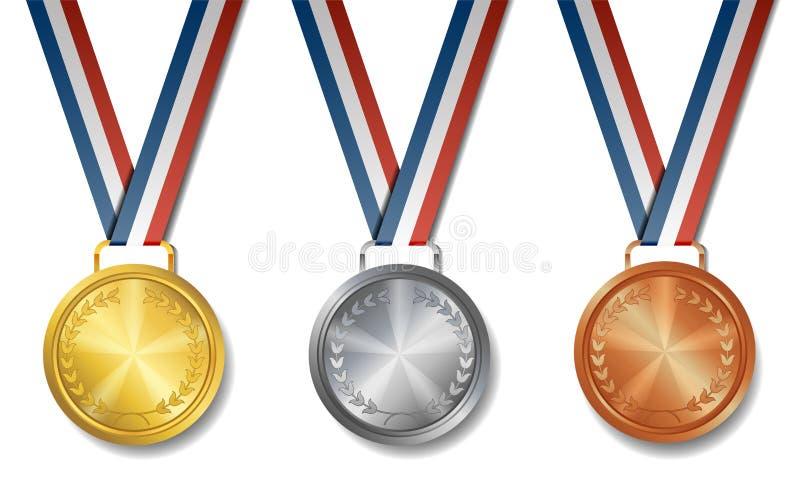 Uppsättning av guld, silver, bronsutmärkelsemedaljer stock illustrationer