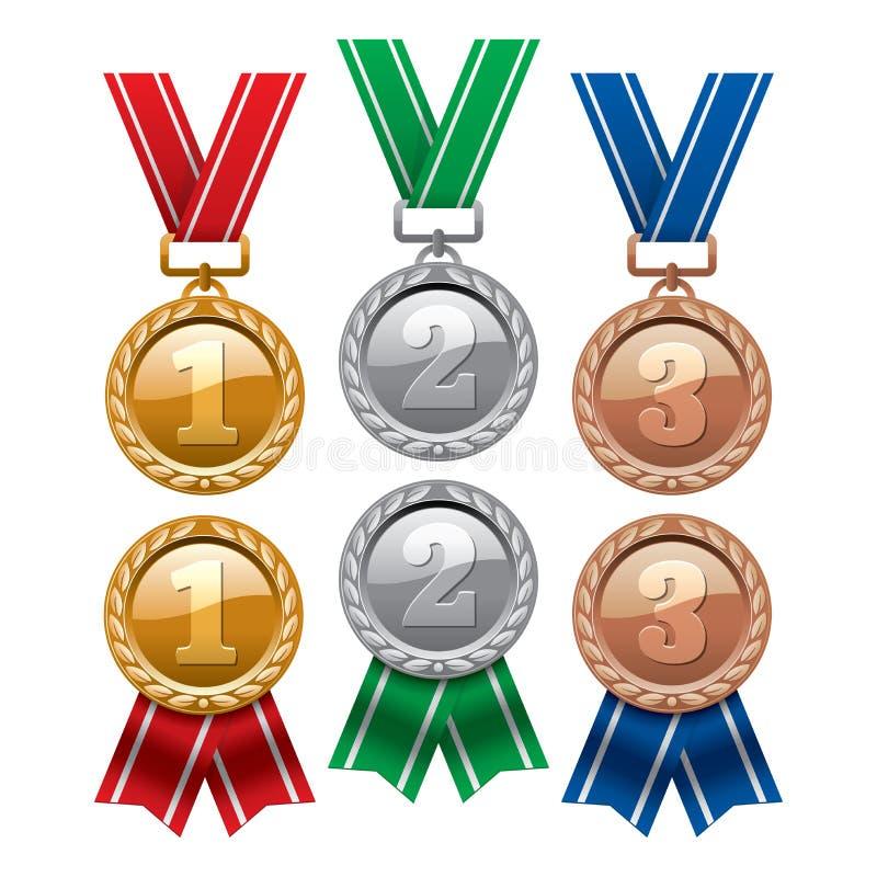 Uppsättning av guld, silver och bronsmedaljer med röda band vektor illustrationer