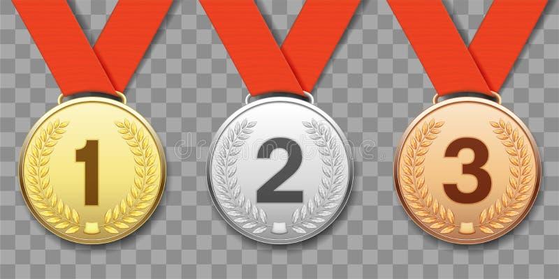 Uppsättning av guld-, silver- och bronssportmedaljer vektor illustrationer