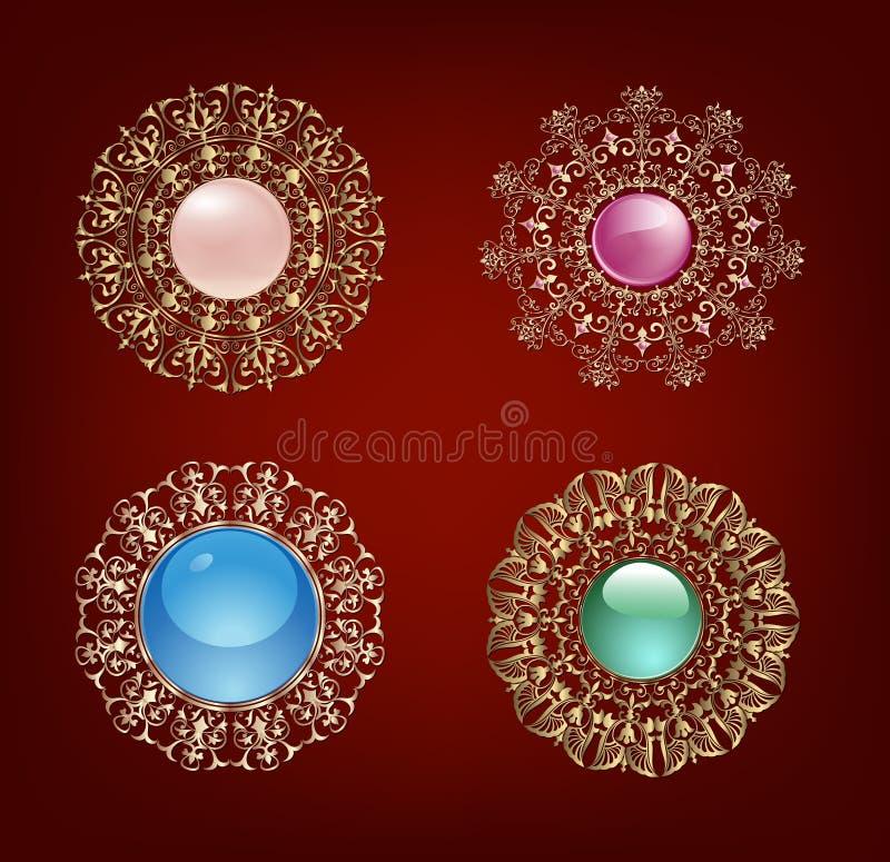 Uppsättning av guld- smyckenuppsättningar för tappning med mång--färgade pärlor och ädelstenar vektor illustrationer
