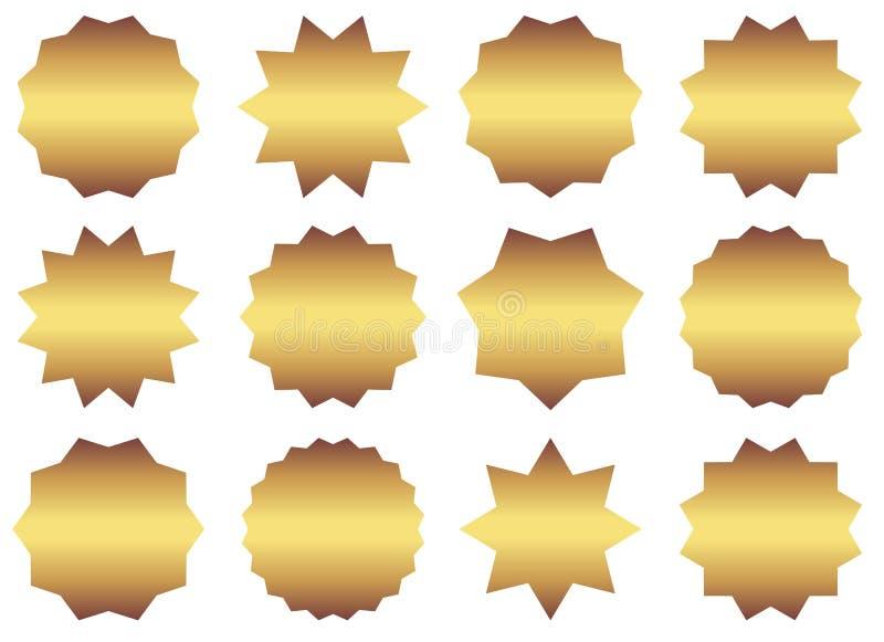 Uppsättning av guld- starburstsymboler för vektor royaltyfri illustrationer