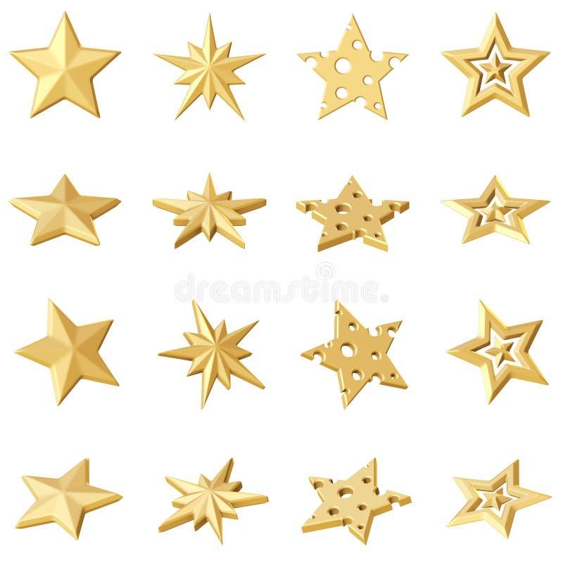 Uppsättning av 4 guld- stjärnor Olika vinklar royaltyfri illustrationer