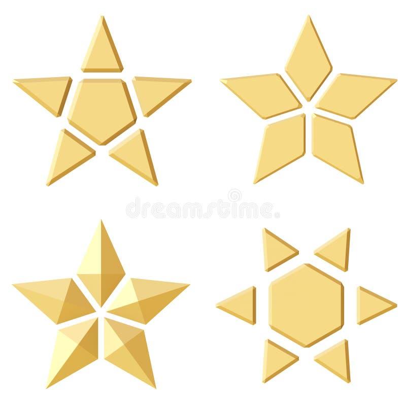 Uppsättning av 4 guld- stjärnor Olika vinklar vektor illustrationer