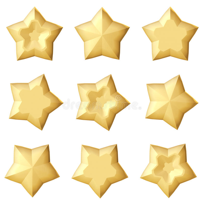 Uppsättning av 3 guld- stjärnor Olika vinklar vektor illustrationer