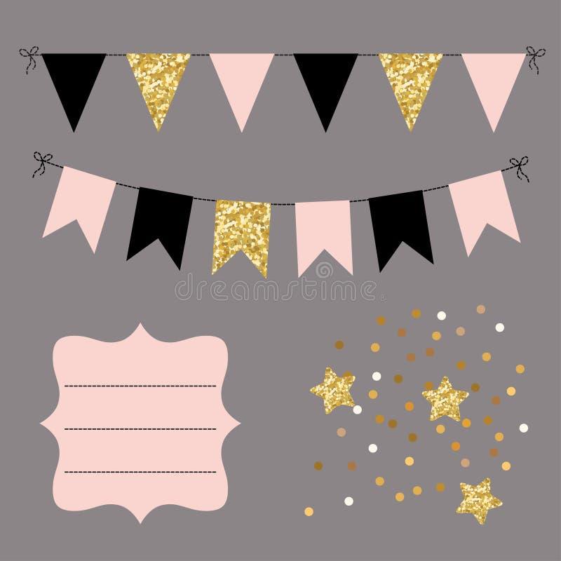 Uppsättning av guld-, svarta och rosa plana buntingsgirlander, flaggor, stjärnor och den buktade ramen Berömdekor för hälsningkor royaltyfri illustrationer