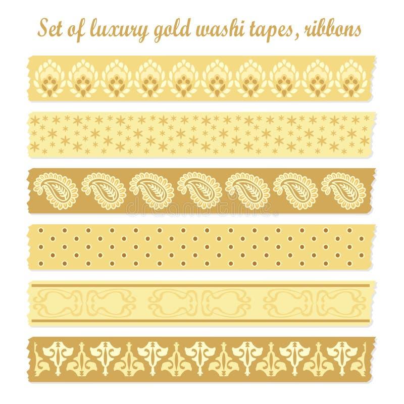 Uppsättning av guld- washiband för lyxig tappning, band, beståndsdelar, gulliga designmodeller royaltyfri illustrationer